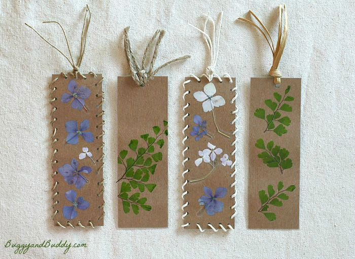 Bookmark Craft for Kids Using Pressed Flowers and Leaves ~ BuggyandBuddy.com