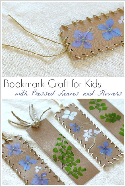 bookmark craft for kids using pressed leaves and flowers buggyandbuddycom