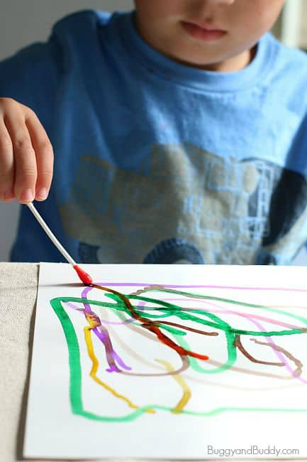 Q-tip Painting for Kids Using Watercolor Paint