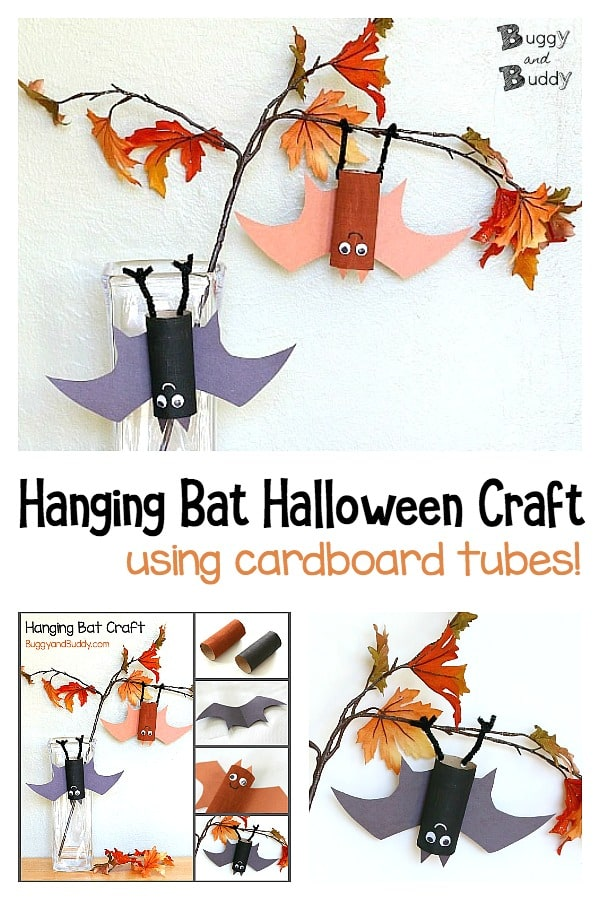 hanging bat craft for kids for halloween using cardboard tubes or toilet paper rolls