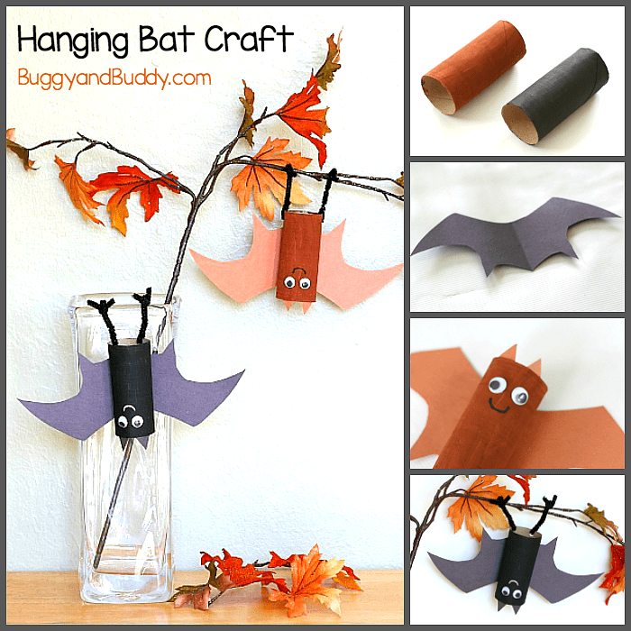 halloween craft for kids hanging bat art project using cardboard tubes fun for fall - Halloween Arts And Crafts For Kids Pinterest