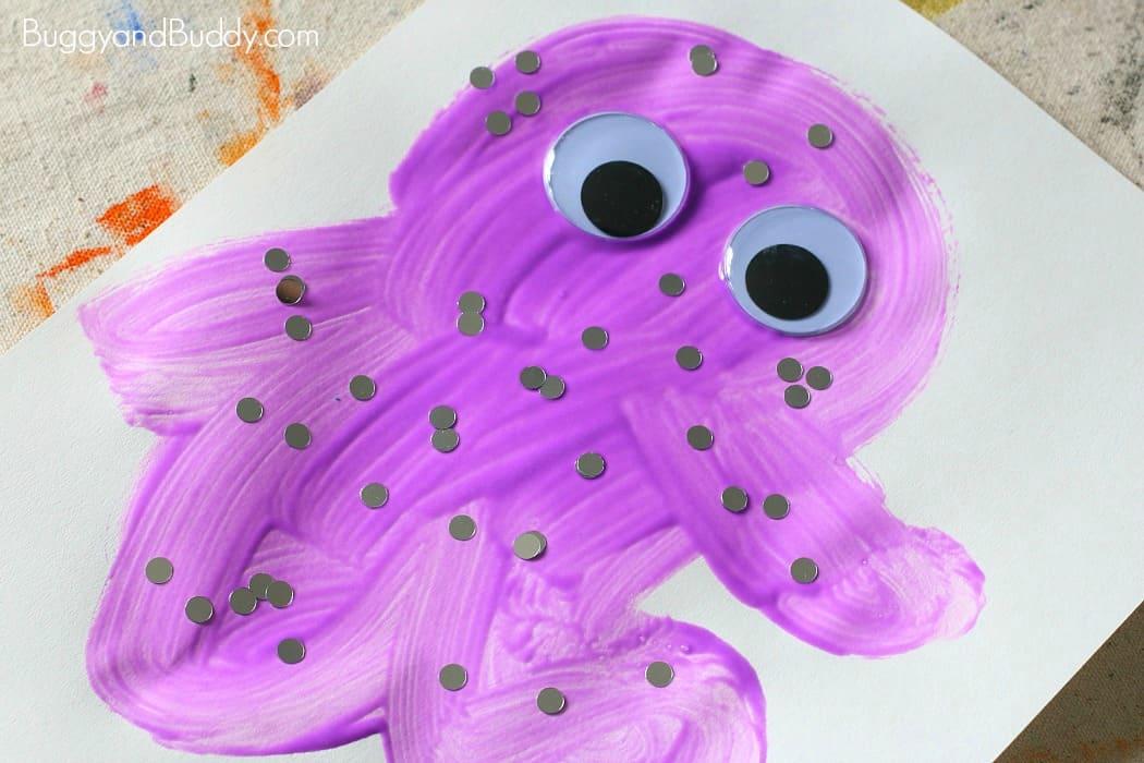 glue monster collage art for kids