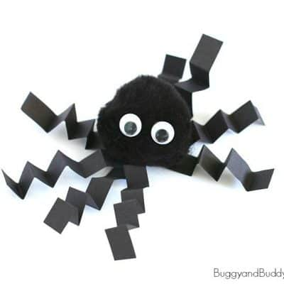 Pom Pom Spider Craft for Kids for Halloween