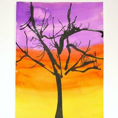 Make Spooky Trees for Halloween Using Blow Art