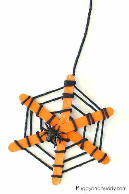 Popsicle Stick and Yarn Spiderweb craft for Kids