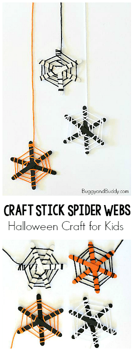 Halloween Craft for Kids: Spider Webs made from popsicle sticks and yarn! Fun fine motor practice and make such a cute decoration for the classroom or home! ~ BuggyandBuddy.com