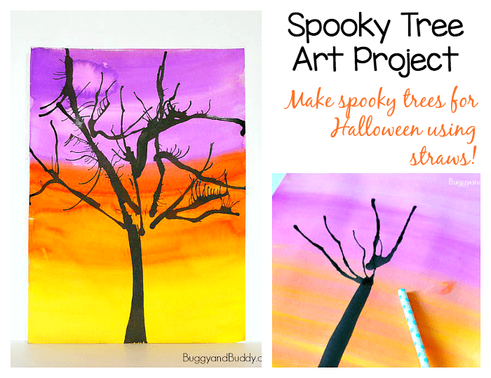 Halloween Art for Kids: Spooky Trees Using Straw Painting