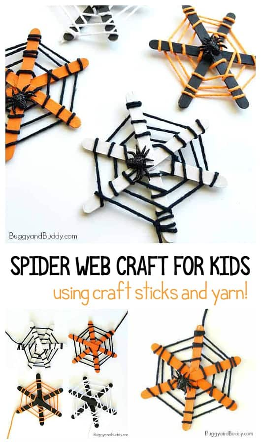Spider web craft for kids using craft sticks and yarn for Halloween