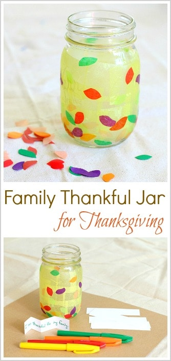 Fun Way to Practice Gratitude for Thanksgiving: Make a Thankful Jar! Such an easy Thanksgiving craft that can later be used as a lantern for the Thanksgiving table! ~ BuggyandBuddy.com
