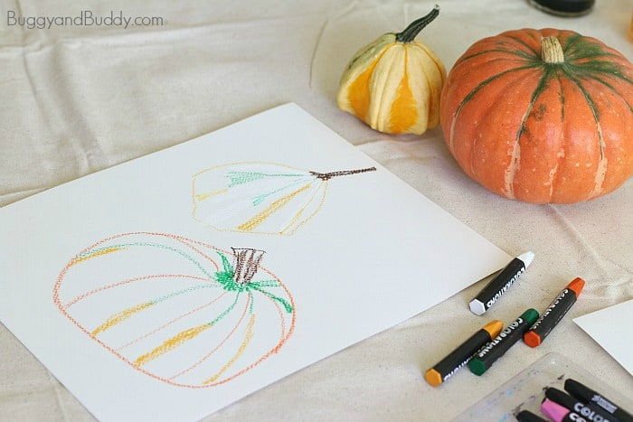 Pumpkin Still Life Art Project for Kids Using Oil Pastels & Watercolors (Perfect for fall or Halloween!)