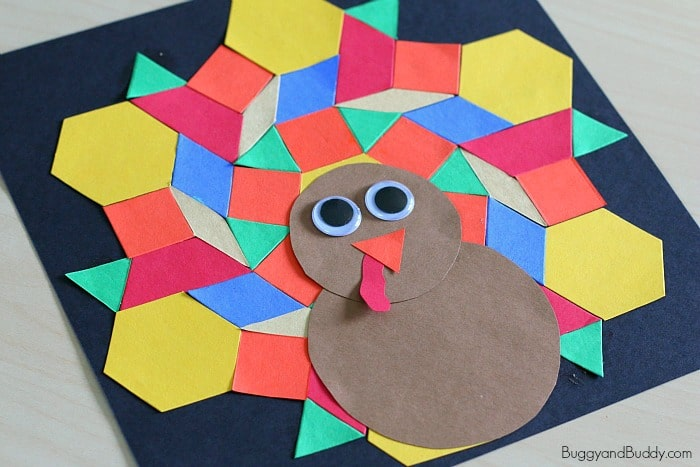 Easy Thanksgiving Crafts Turkey Craft For Kids Using Paper Shapes