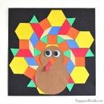 Pattern Block Turkey Craft for Kids