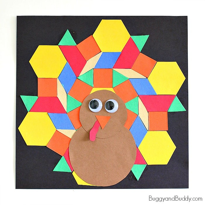 Easy Thanksgiving Crafts: Turkey Craft for Kids Using Paper Shapes