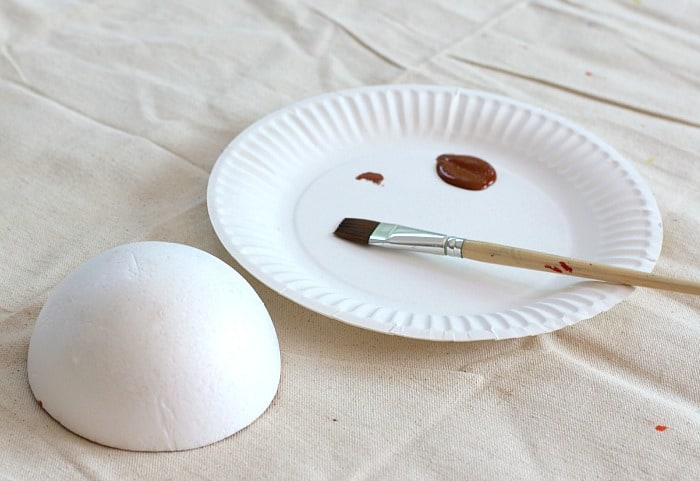 paint your half ball of styrofoam brown
