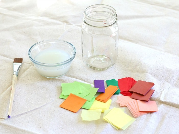 materials for making a thankful jar with tissue paper