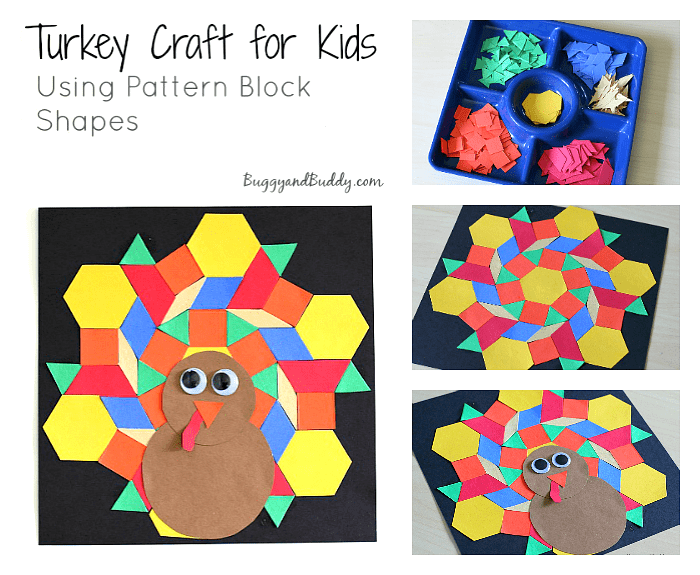 Turkey Craft for Kids Using Pattern Block Shapes