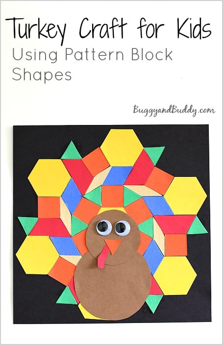Turkey Craft for Kids: Use pattern block shapes to design your very own turkey in this Thanksgiving math activity for kids! Perfect for geometry, spatial awareness, and rotational symmetry practice! ~ BuggyandBuddy.com