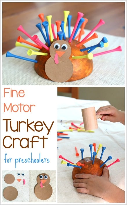 Thanksgiving Crafts for Preschoolers: Fine Motor Turkey Craft