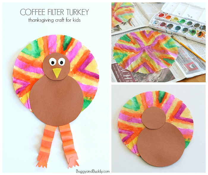 Easy Thanksgiving Crafts For Kids Coffee Filter Turkey