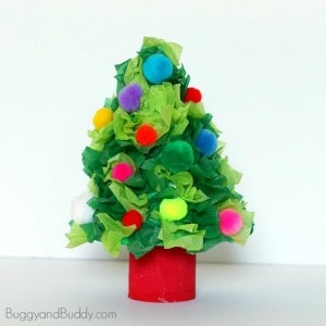 Christmas Tree Craft Using Tissue Paper