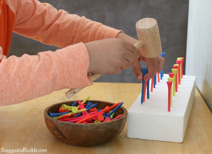 preschool math pattern activity using golf tees