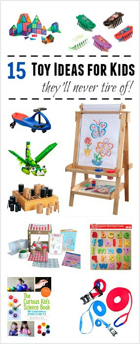 15 Toy Ideas for Kids they'll play with again and again! Our favorite gift guide for quality toys for children- gift ideas for Christmas and birthdays!
