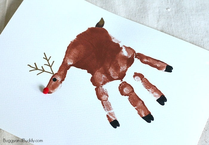 handprint reindeer craft for kids