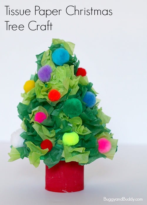 Christmas Tree Craft for Kids using tissue paper and toilet paper roll- Turn a cardboard tube and tissue paper into a simple holiday craft for kids of all ages! Fun homemade decoration for the home or classroom! ~ BuggyandBuddy.com