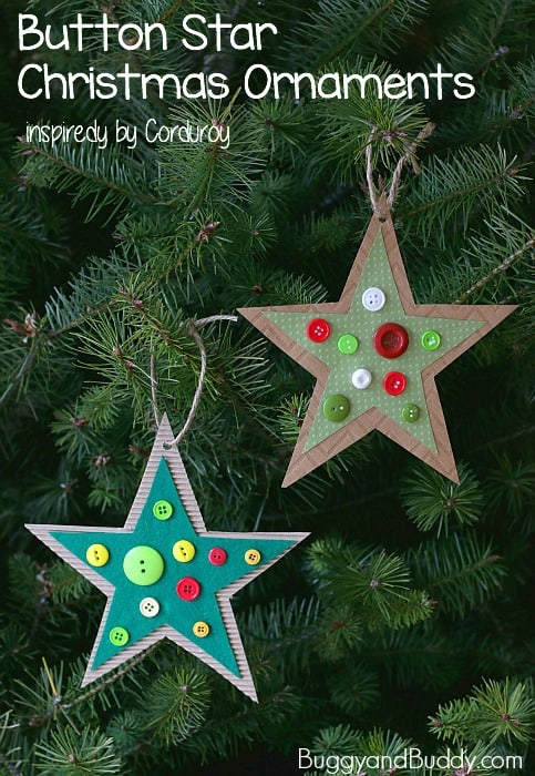 button star christmas ornament craft for kids inspired by the childrens book corduroy - Childrens Christmas Ornaments
