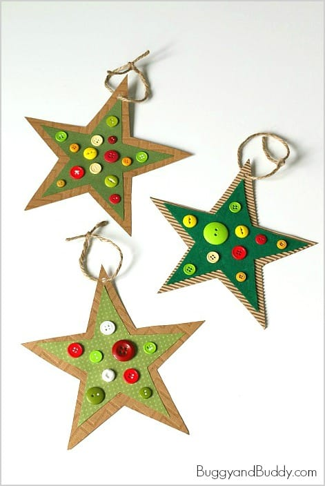 Button Star Christmas Ornament Craft for Kids: Inspired by the children's book, Corduroy! Perfect for toddlers, preschoolers, and kindergarten! ~ BuggyandBuddy.com
