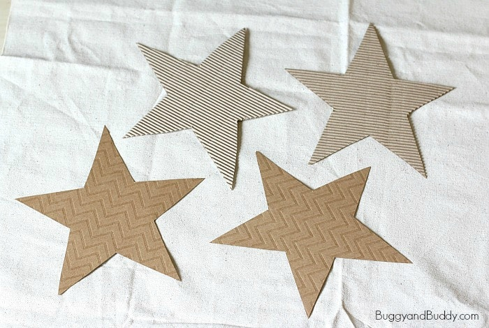 cut out brown stars using the free star template