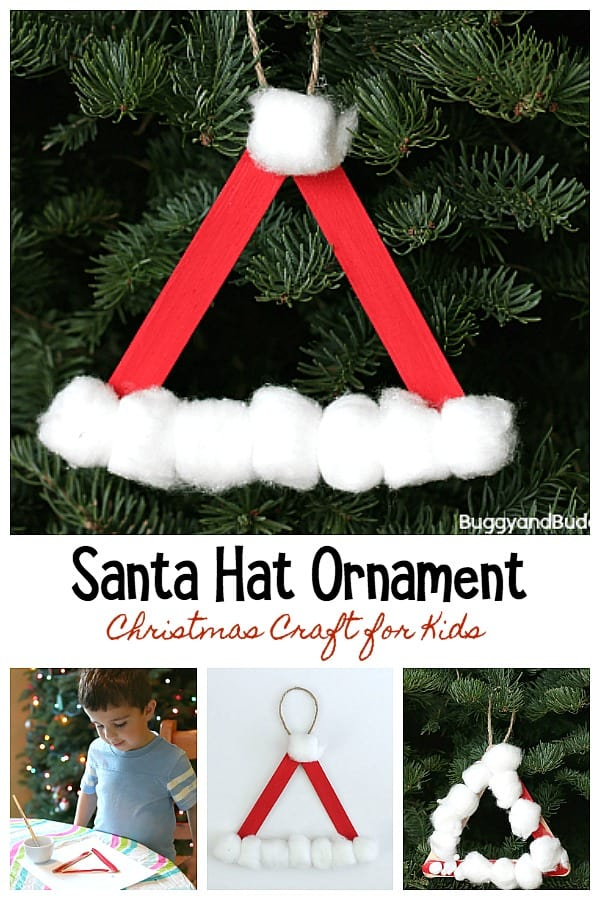 santa hat ornament craft for kids using craft sticks and cotton balls- perfect for preschoolers and toddlers