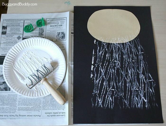 printing with yarn and rolling pin