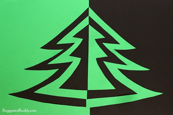 Christmas Arts And Crafts Ideas For Preschool Part - 42: Symmetry Christmas Tree Art Project For Kids