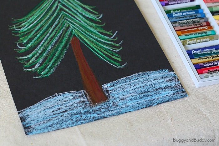 draw snow with oil pastels
