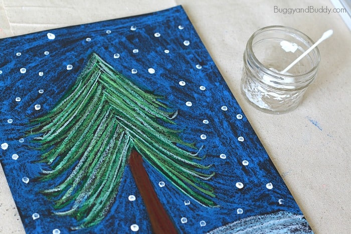 add snowflakes using paint and q-tips
