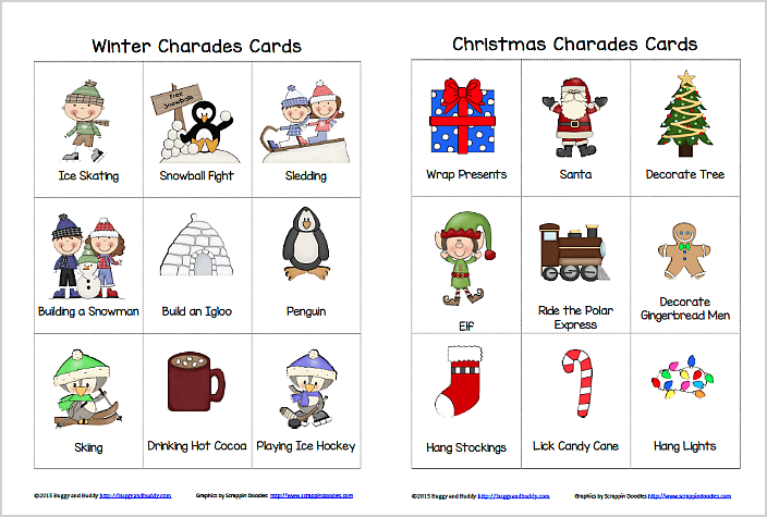 Winter and Christmas Charades- Free Printable Game for Kids ~ BuggyandBuddy.com