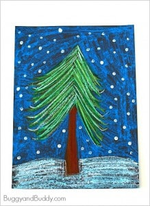 Oil Pastel Winter Tree Art Project for Kids