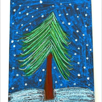 Oil Pastel Winter Tree Art Project for Kids