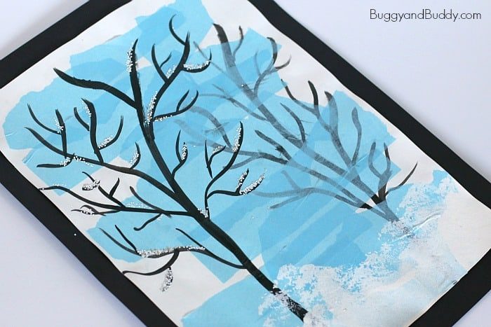 Silhouette Winter Tree Art Project for Kids