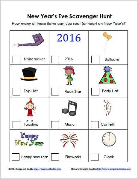 New Year's Eve Scavenger Hunt for Kids (FREE Printable)- Great for parties or for watching the ball drop on t.v! ~ BuggyandBuddy.com