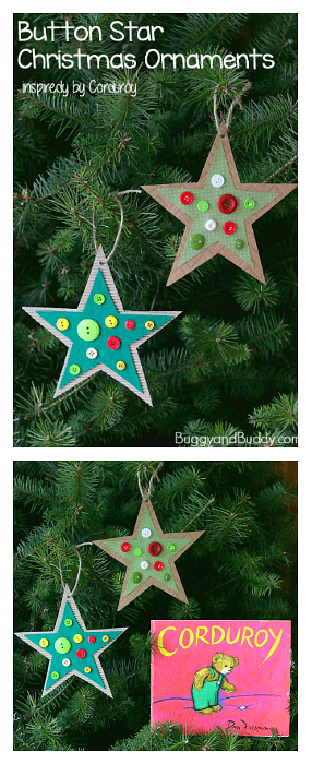 Homemade Button Star Ornament Craft for Kids inspired by Corduroy