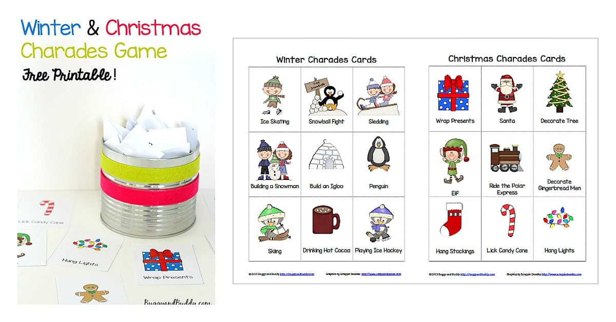Winter and Christmas Free Charades Printable Game for Kids