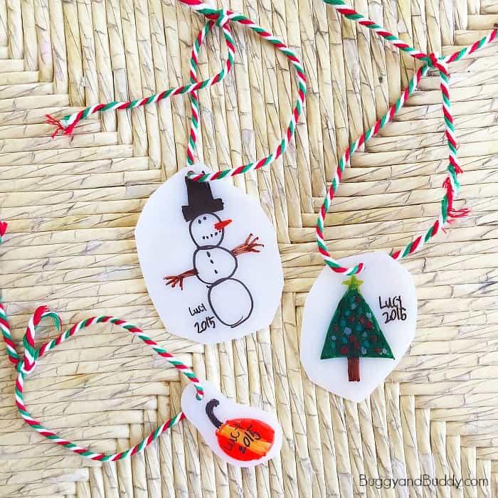 Turn kid drawings into homemade Christmas ornaments using shrink film!