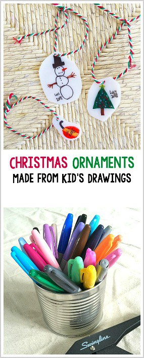 Turn kid drawings into homemade Christmas ornaments using shrink film! ~ BuggyandBuddy.com