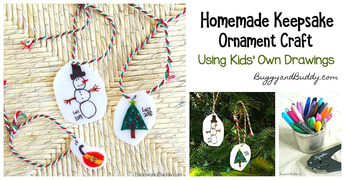 Christmas Ornament Craft for Kids- Use kids' drawings to make ornament keepsakes using shrink film - great homemade gift idea!