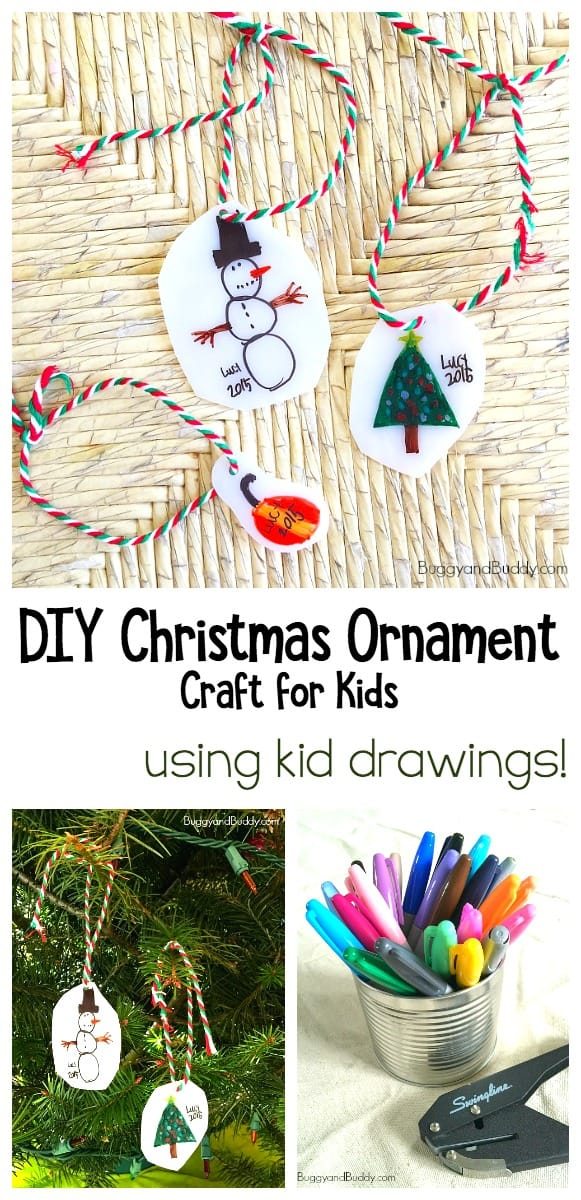 Homemade Christmas Ornament Craft for Kids Using Shrink Film