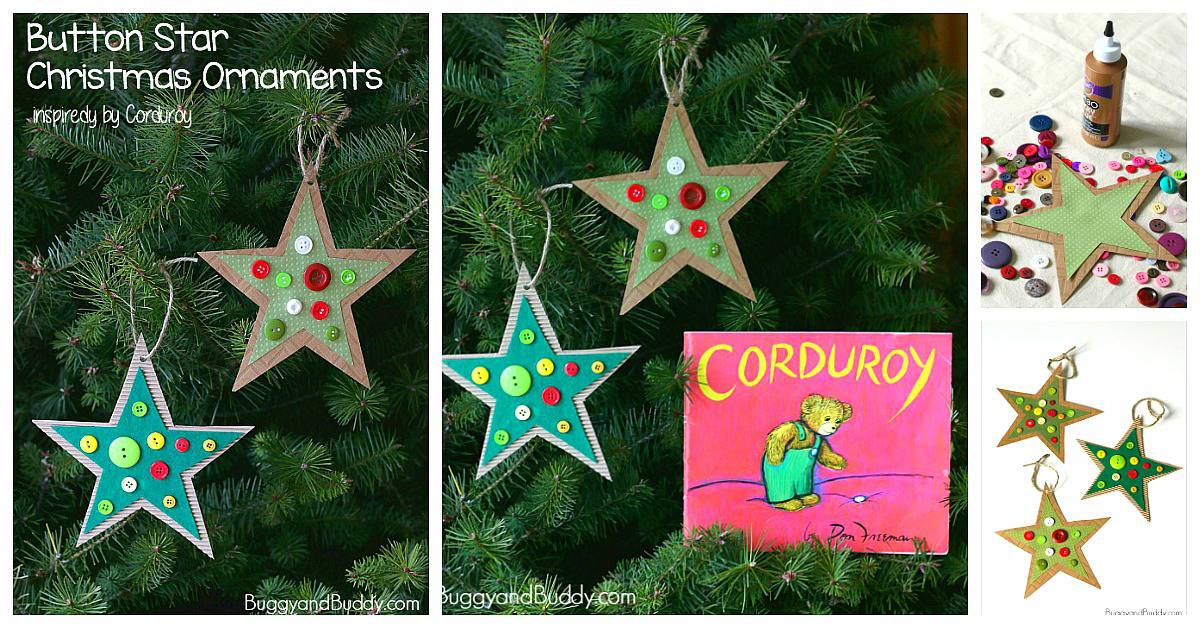 Homemade Button Star christmas Ornament Craft for Kids Inspired by the children's book Corduroy
