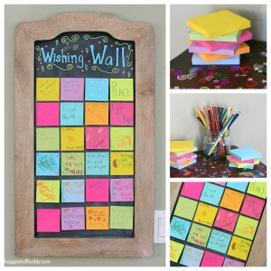 Wishing Wall Activity for New Year's Eve- Fun activity for kids and family using sticky notes!
