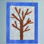 Winter Tree Suncatcher Craft Using Tear Art
